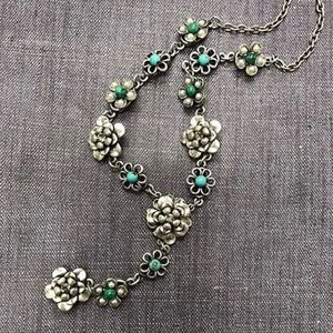 Antiqued Silver Strand of Flowers w/Turquoise, NWT